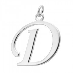 Sterling Silver Script Initial Pendant or Large Charm - D Letter