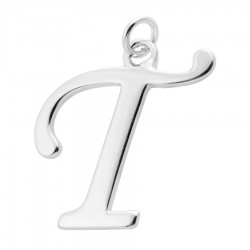 Sterling Silver Script Initial Pendant or Large Charm - T Letter