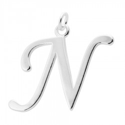 Sterling Silver Script Initial Pendant or Large Charm - N Letter
