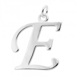 Sterling Silver Script Initial Pendant or Large Charm - E Letter