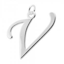 Sterling Silver Script Initial Pendant or Large Charm - V Letter