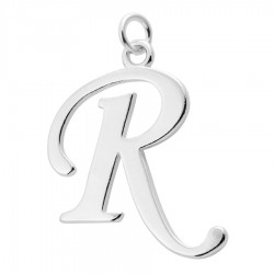 Sterling Silver Script Initial Pendant or Large Charm - R Letter