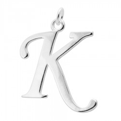 Sterling Silver Script Initial Pendant or Large Charm - K Letter