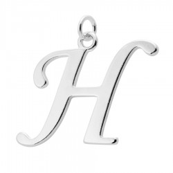 Sterling Silver Script Initial Pendant or Large Charm - H Letter