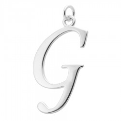 Sterling Silver Script Initial Pendant or Large Charm - G Letter