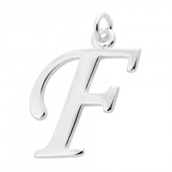Sterling Silver Script Initial Pendant or Large Charm - F Letter