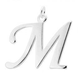 Sterling Silver Script Initial Pendant or Large Charm - M Letter