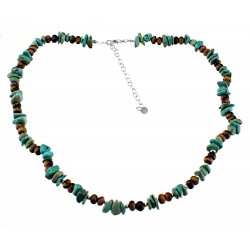 Turquoise and Tiger-eye Necklace with Sterling Silver