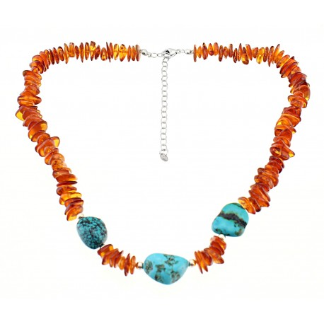 Southwestern Amber and Turquoise Necklace with Sterling Silver