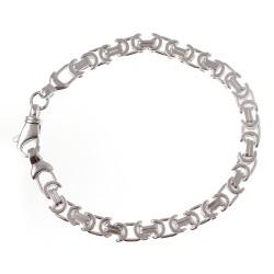 Sterling Silver Flat Byzantine Bracelet 7.25 Inch Long
