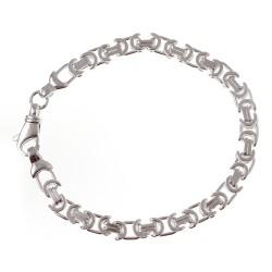 Sterling Silver Flat Byzantine Bracelet 8 Inch Long