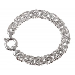 Sterling Silver Hollow Byzantine Bracelet 7.25 Inch Long