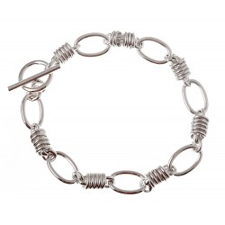 Sterling Silver Unique Toggle Bracelet 7.5 Inch Long