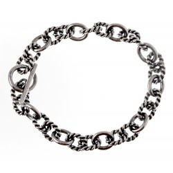 Sterling Silver Oxidized Toggle Bracelet 7.5 Inch Long