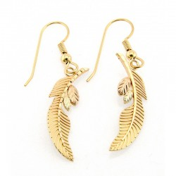 10K Black Hills Gold Dangle Feather Earrings