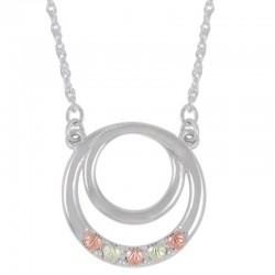 Sterling Silver with 12K Black Hills Gold Circle Necklace