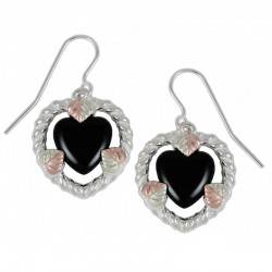 Sterling Silver with 12K Black Hills Gold Heart Earrings