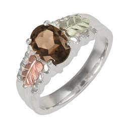 Sterling Silver with 12K Black Hills Gold Ladies Ring w Smoky Quartz