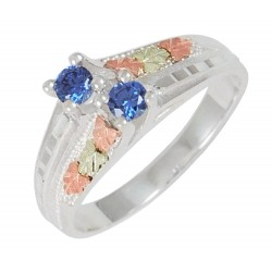 Sterling Silver with 12K Black Hills Gold Ring w Indigo CZ