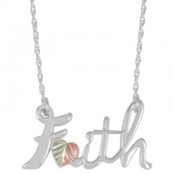 Sterling Silver Black Hills Gold Faith Sign Necklace
