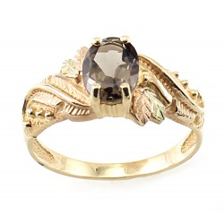 10K Black Hills Gold Ladies Ring Oval Smoky Quartz