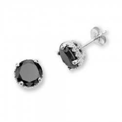 Silver Elegance Sterling Silver Black CZ Earrings