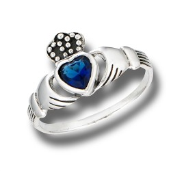 Sterling Silver Claddagh Ring with Synthetic Sapphire